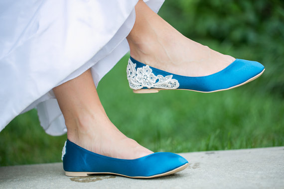 teal wedding flats with lace