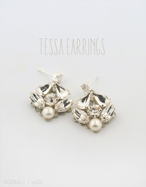 Vintage Drop Earrings (Tessa by Tigerlilly Jewelry) #handmade #wedding #jewelry