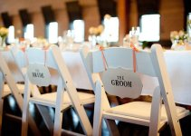 the bride the groom wedding chair signs