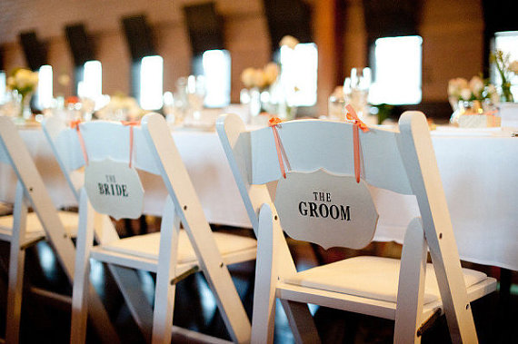 custom wedding chair signs