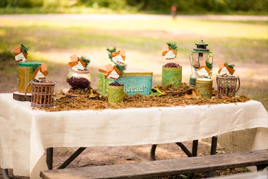 trail mix station - camp themed wedding