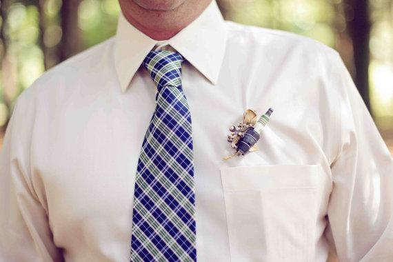 unique wedding boutonnieres - shotgun shell boutonniere