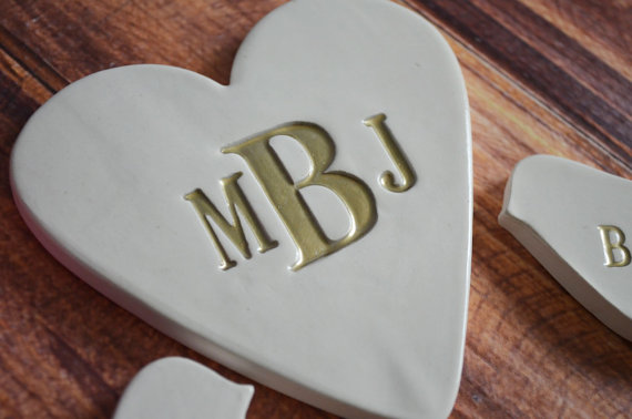 up close heart ceramic cake topper