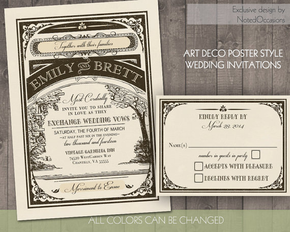 vintage baroque printable wedding invitations