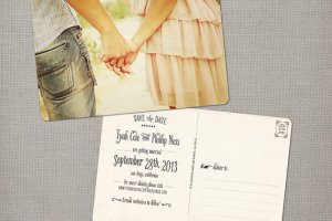 vintage save the dates - pink ruffle dress