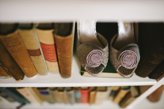 vintage wedding - bookcase image with bride's shoes