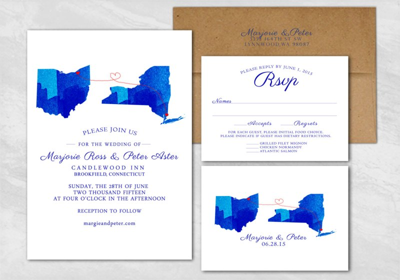Custom State Wedding Invitations | http://emmalinebride.com/invites/state-wedding-invitations/