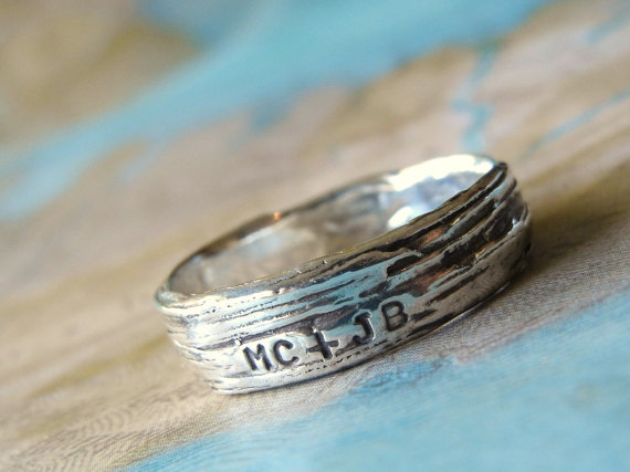 Include your wedding initials on your wedding band.