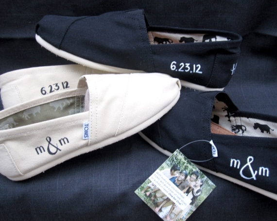 Skip boring shoes and opt for custom TOMS!  Have them hand-painted to include your wedding initials for maximum personalization.