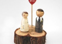 wedding love birds cake topper wood grain