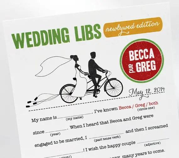 Wedding Mad Libs - Bicycles
