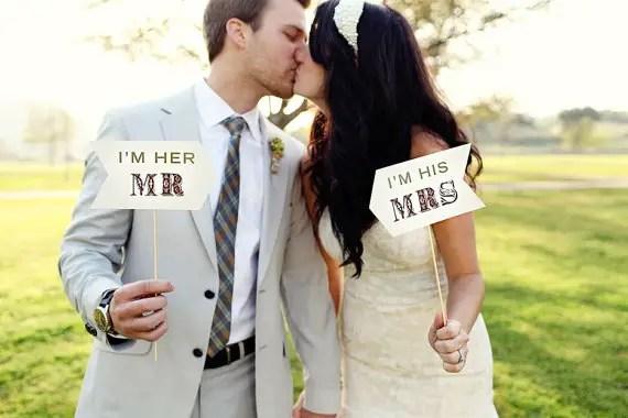 Mr. and Mrs. - Photo Props (image: kelsey lauren photography, banner: liddabits via emmalinebride.com)