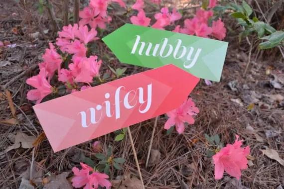 Photo Props:  Hubby / Wifey (by LiddaBits via EmmalineBride.com)