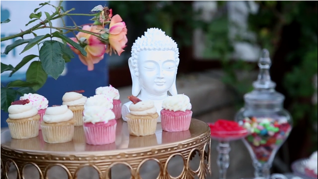 wedding cupcakes candy table for Sova Gardens wedding film