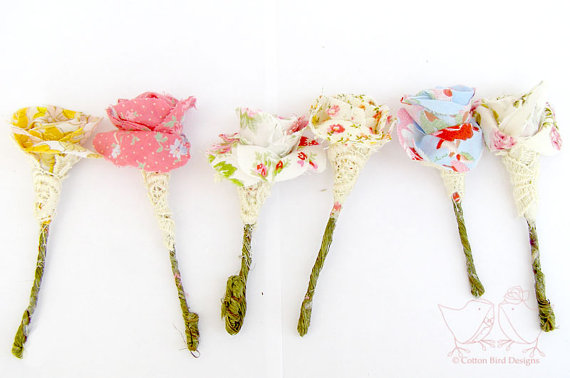 fabric boutonnieres for bohemian wedding | via What Kind of Boutonniere to Pick (and Why) http://emmalinebride.com/groom/what-kind-of-boutonniere/