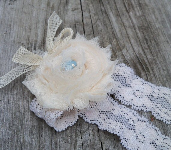 White and Ivory Wedding Garter (by Wisely Crafted Originals via EmmalineBride.com)