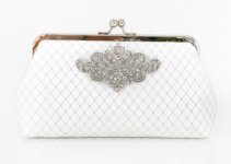 white art deco bridal clutch