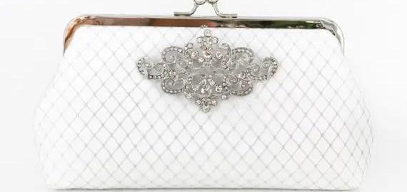 white art deco bridal clutch
