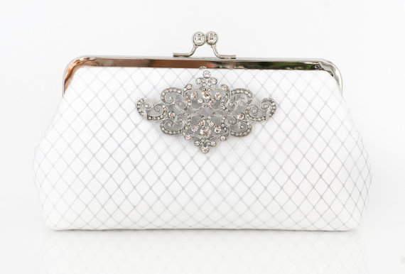 white bridal clutch in art deco style with brooch (by angee w)