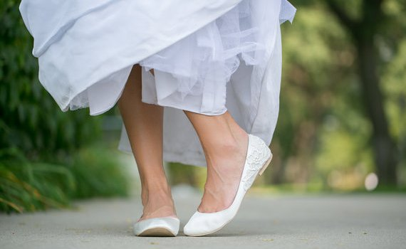white wedding flats