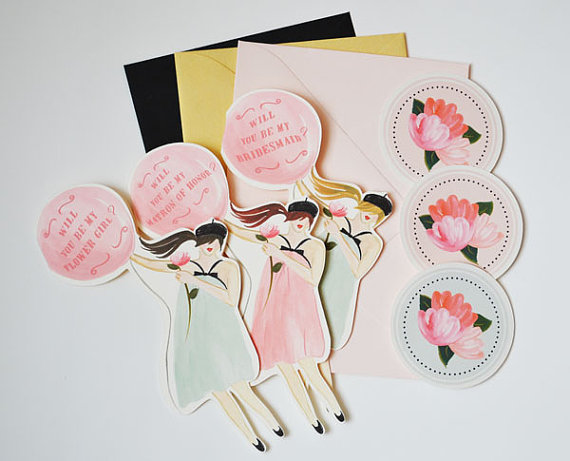 will you be my bridesmaid paper dolls (be my bridesmaid card)