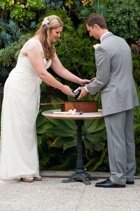 DIY Wedding Ideas: Wine Box Sealing at Ceremony | photo by Meghan Christine Photography