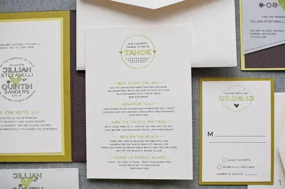 wood themed ideas - wedding invitation tahoe
