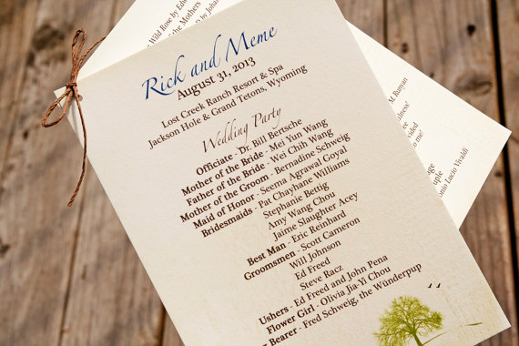 woodland wedding ceremony program