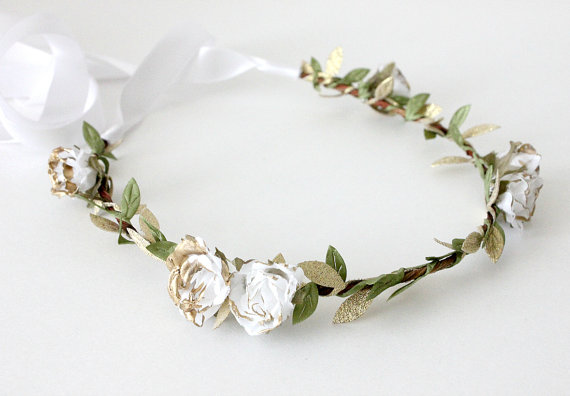Boho Floral Crown - white gold rose by Roses and Lemons
