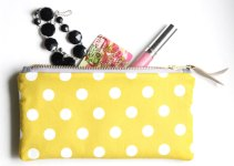 yellow polka dot clutch purse
