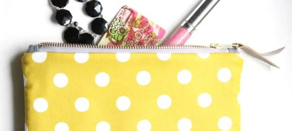 yellow polka dot clutch purse