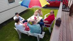 All the family at the caravan