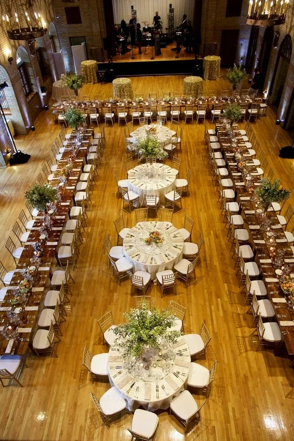 Wedding Reception Table Layout Ideas-A Mix of Rectangular and