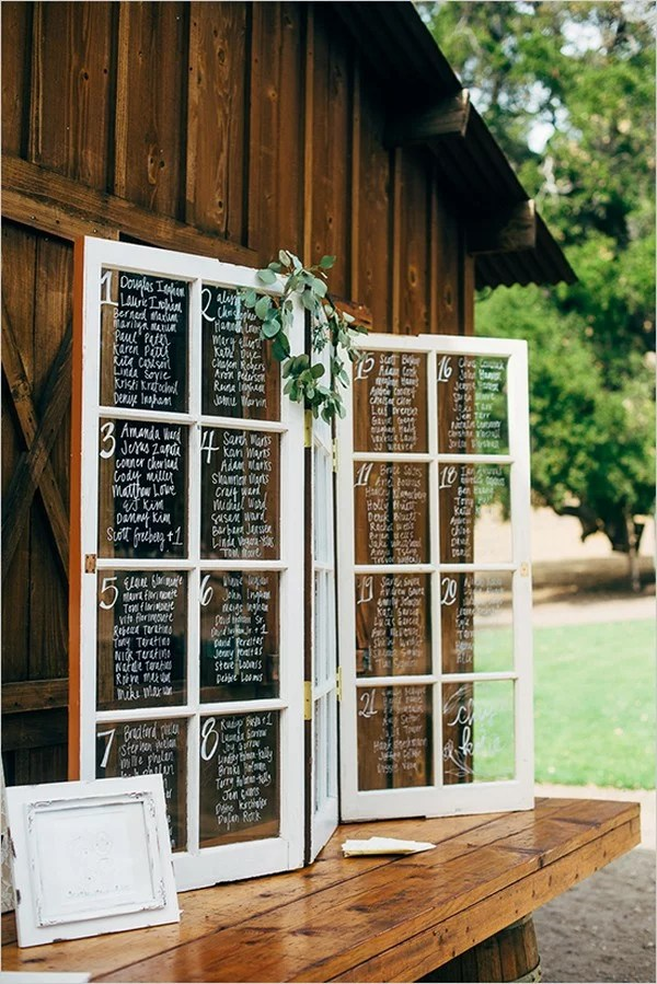 vintage window pane wedding seating chart decoration ideas