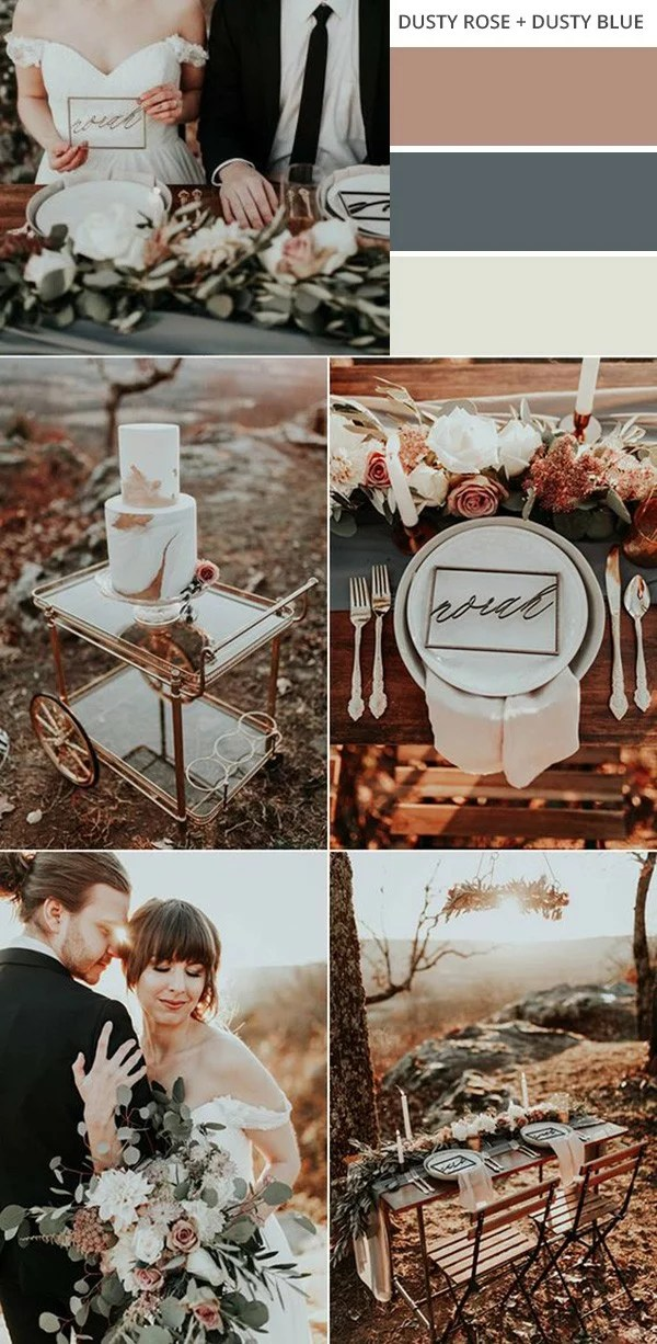 Dusty Rose Dusty Rose And Dusty Blue Fall Wedding Color Ideas