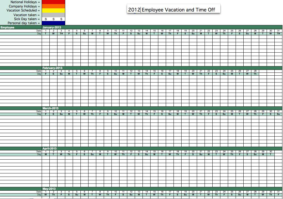 employee vacation tracker excel template