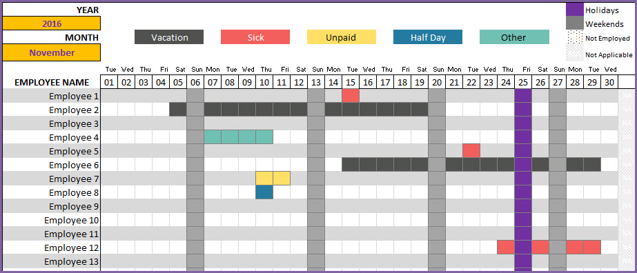 employee vacation time tracker