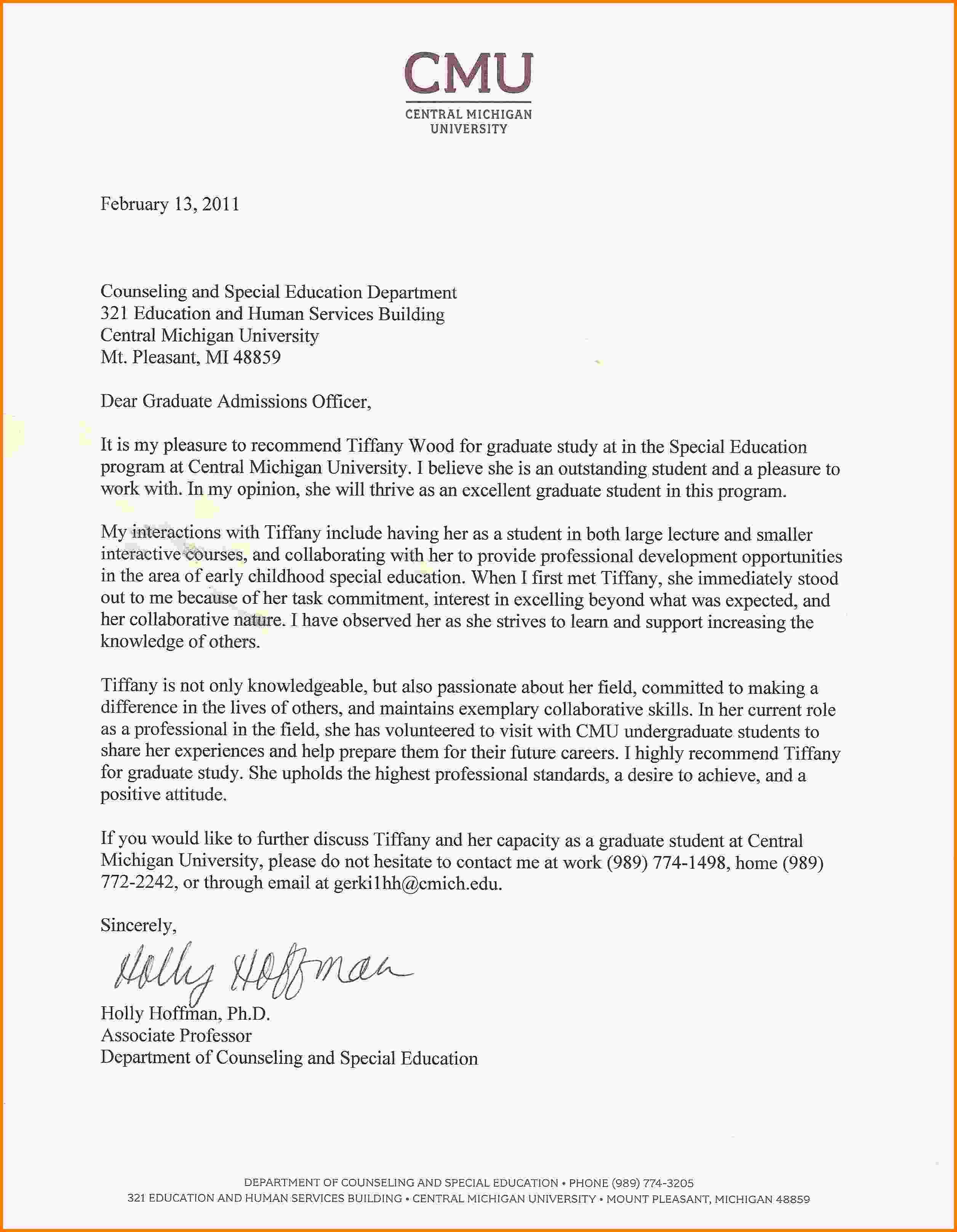 letter of recommendation masters program sample