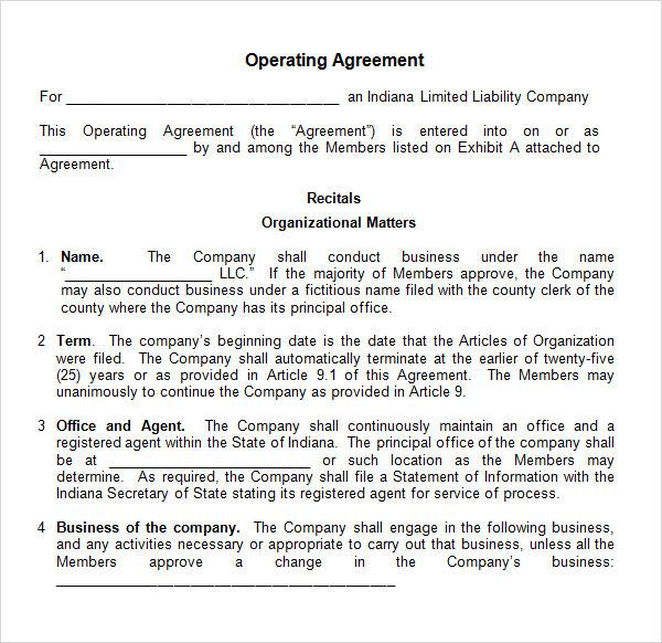 Operating Agreement Sample \u2013 emmamcintyrephotography