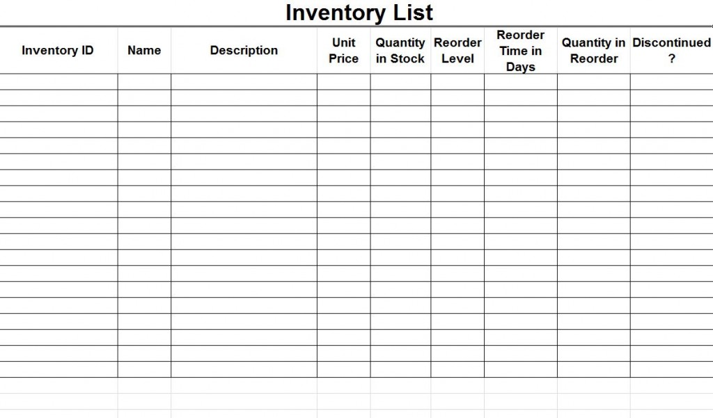 Printable Inventory Template \u2013 emmamcintyrephotography