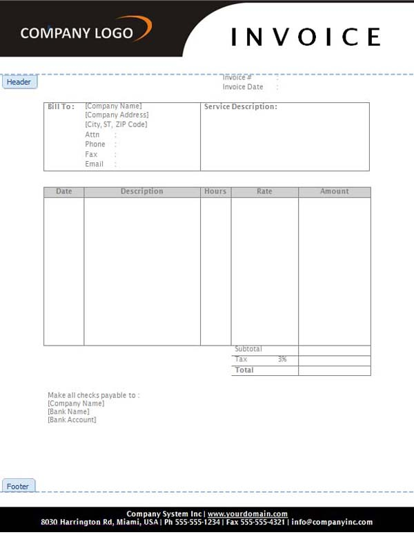 Service Invoice Template Free \u2013 emmamcintyrephotography