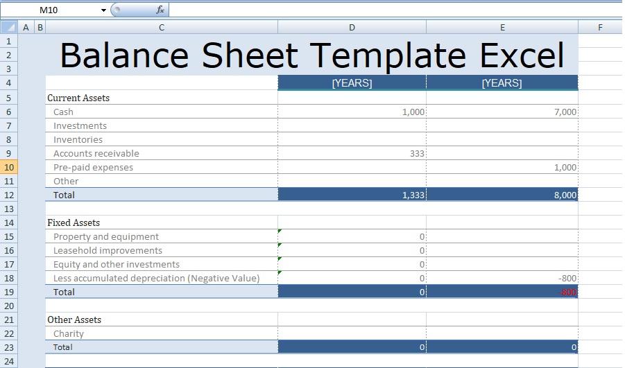 Balance Sheet Template Excel \u2013 emmamcintyrephotography