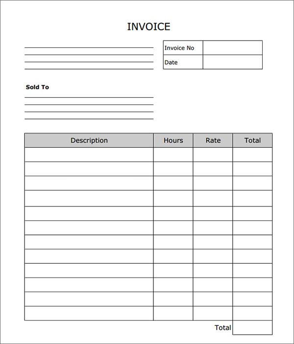 Blank Invoice Template \u2013 emmamcintyrephotography