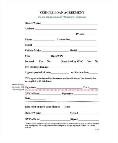 Car Loan Contract Template – emmamcintyrephotography.com