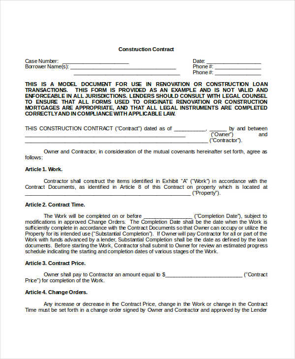 contractor contract template free download