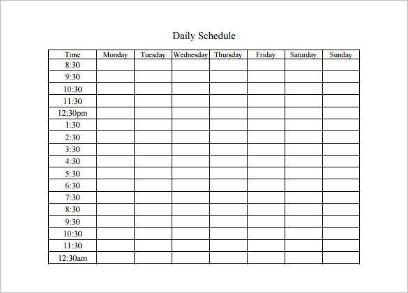 Daily Schedule Template Word \u2013 emmamcintyrephotography