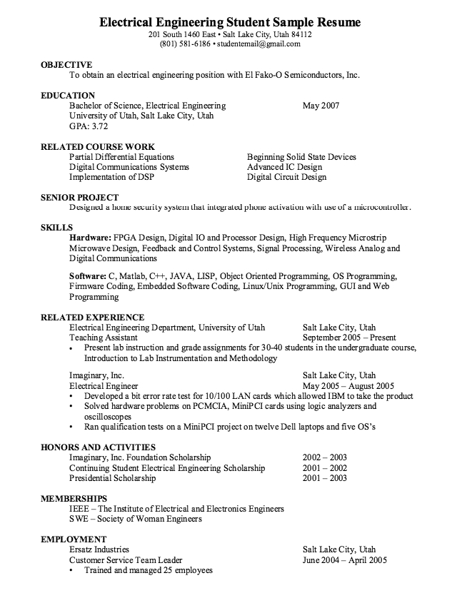 Electrical Engineering Student Resume \u2013 emmamcintyrephotography