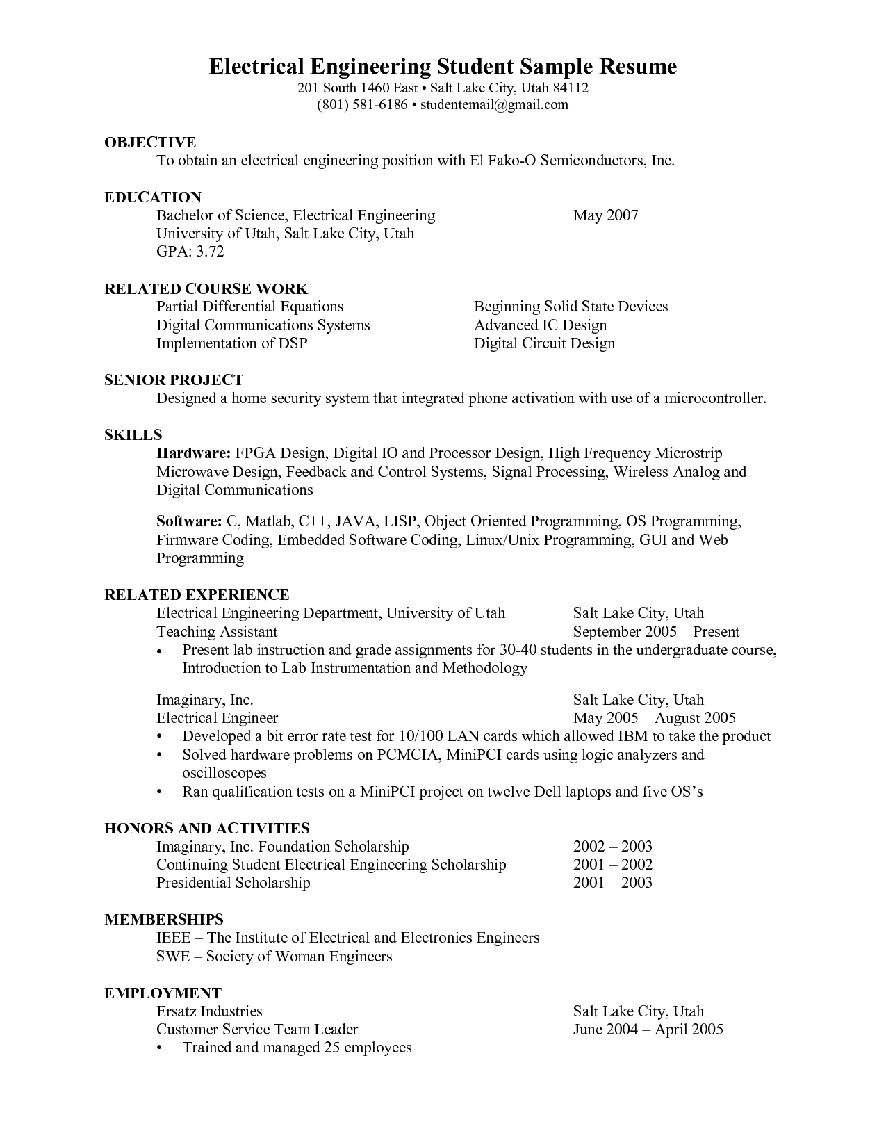 98 Electrical Engineer Resume Template Entry Level Electrical