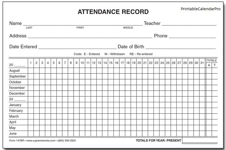 Employee Attendance Calendar \u2013 emmamcintyrephotography