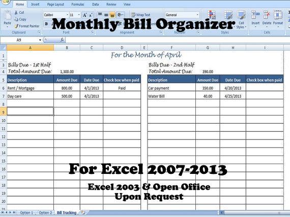 Excel Bill Tracker \u2013 emmamcintyrephotography